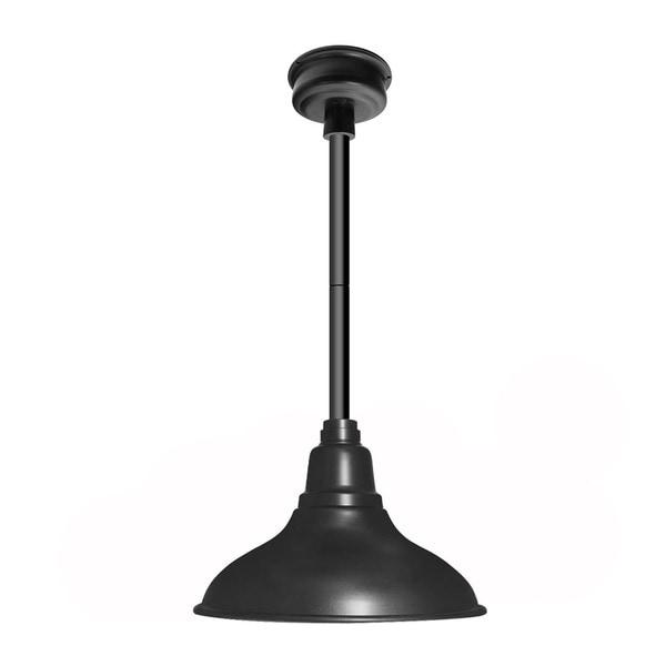 Cocoweb Dahlia Matte Black with Black Downrod 12-inch LED Pendant Barn Light