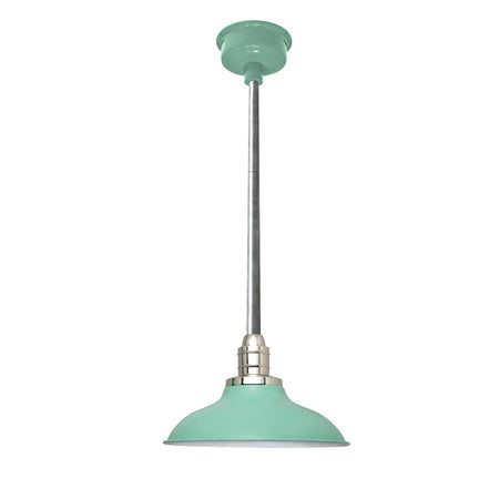 "12"" Peony LED Pendant Light in Jade with Galvanized Silver Downrod"