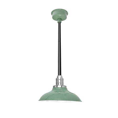 """12"""" Peony LED Pendant Light in Jade with Black Downrod"""