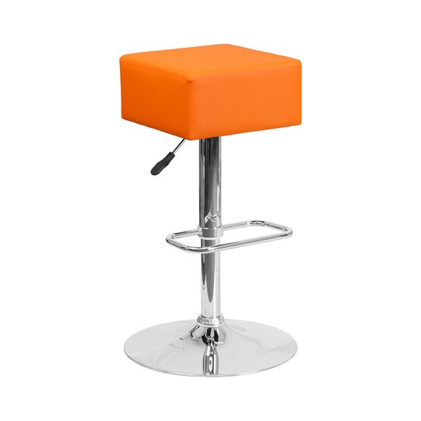 Offex Contemporary Orange Vinyl Adjustable Height Square Barstool with Chrome Base