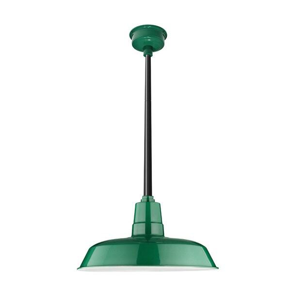 """22"""" Oldage LED Pendant Light in Vintage Green with Black Downrod"""