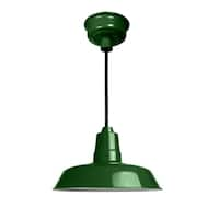 "22"" Oldage LED Pendant Light in Vintage Green with Black Downrod"