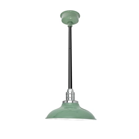 """10"""" Peony LED Pendant Light in Jade with Black Downrod"""