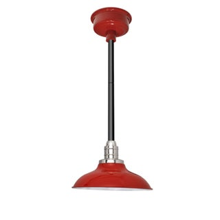 "10"" Peony LED Pendant Light in Cherry Red with Black Downrod"