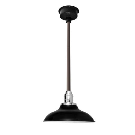 "10"" Peony LED Pendant Light in Black with Mahogany Bronze Downrod"