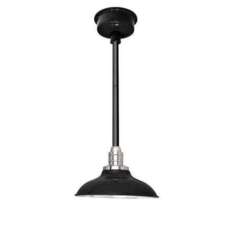 "10"" Peony LED Pendant Light in Black with Black Downrod"
