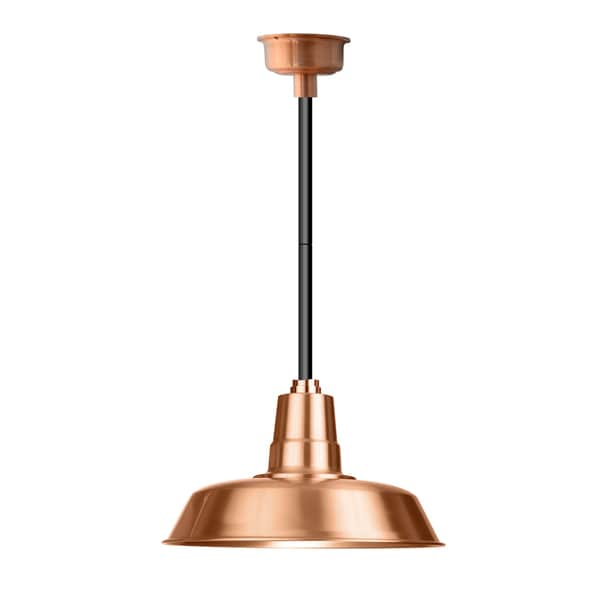 "22"" Oldage LED Pendant Light in Solid Copper with Black Downrod"