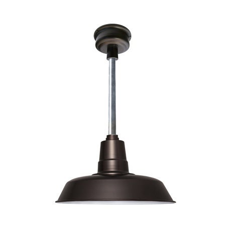 """22"""" Oldage LED Pendant Light in Mahogany Bronze with Galvanized Silver Downrod"""