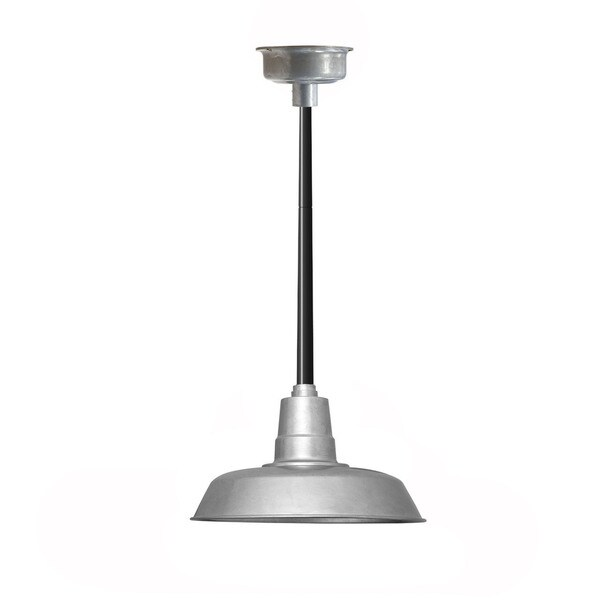 """22"""" Oldage LED Pendant Light in Galvanized Silver with Black Downrod"""