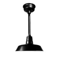 """22"""" Oldage LED Pendant Light in Matte Black with Black Downrod"""