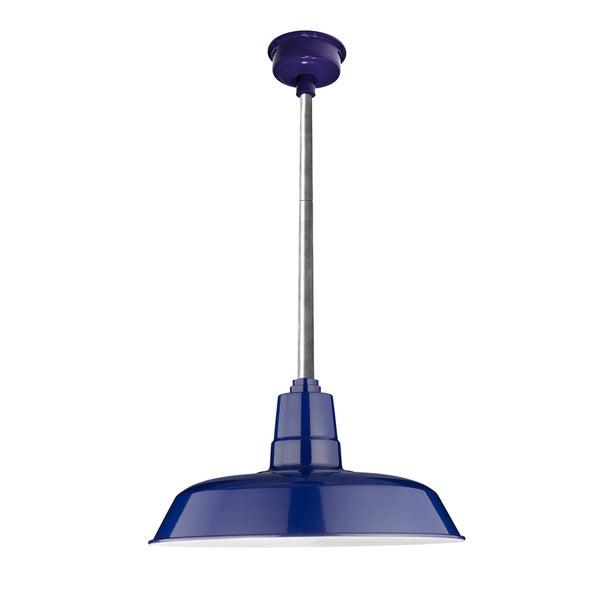 "22"" Oldage LED Pendant Light in Cobalt Blue with Galvanized Silver Downrod"