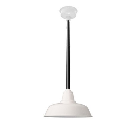 """14"""" Goodyear LED Pendant Light in White with Black Downrod"""