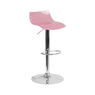 Offex Contemporary Transparent Pink Acrylic Adjustable Height Barstool with Chrome Base
