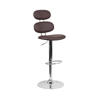 Offex Contemporary Brown Vinyl Chrome Adjustable Height Barstool