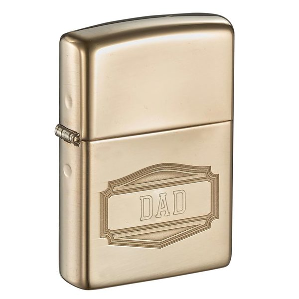 Zippo Solid Brass Engraved Dad Lighter