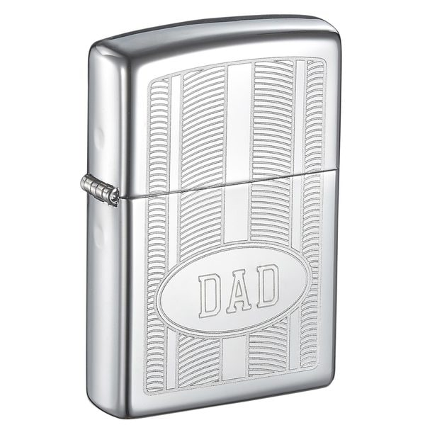 "Zippo ""DAD"" Engraved Oval Design High Polish Lighter"