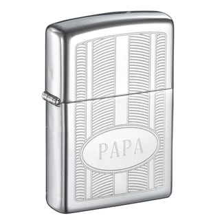Zippo PAPA Engraved Oval High Polish Lighter