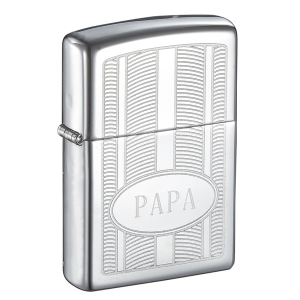 Zippo PAPA Engraved Oval High Polish Lighter