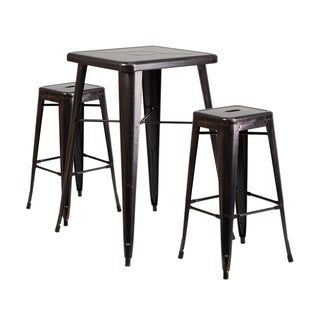 Offex Black-Antique Gold Metal Indoor-Outdoor Bar Table Set with 2 Backless Barstools
