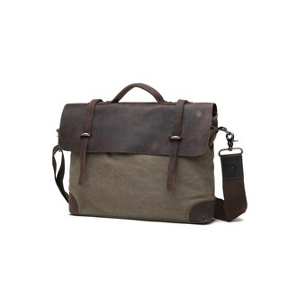 Infurniture Genuine Leather and Canvas Olive Messenger Bag