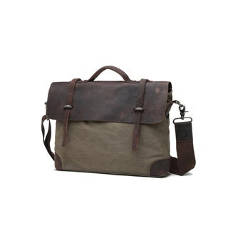 Infurniture Genuine Leather and Canvas Olive Messenger Bag