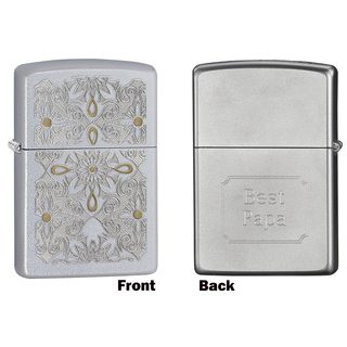 Zippo Papa Engraved Classical Curve Satin Chrome Lighte