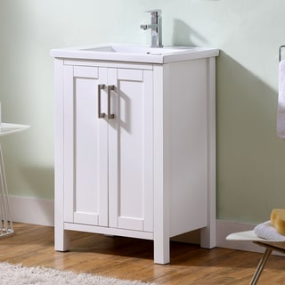 Contemporary White 24-inch Thick Edge Ceramic Sink and Bathroom Vanity