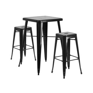 Offex Black Metal Indoor-Outdoor Bar Table Set with 2 Backless Barstools
