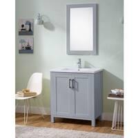 Infurniture Grey Wood 30-inch Ceramic Sink Bathroom Vanity