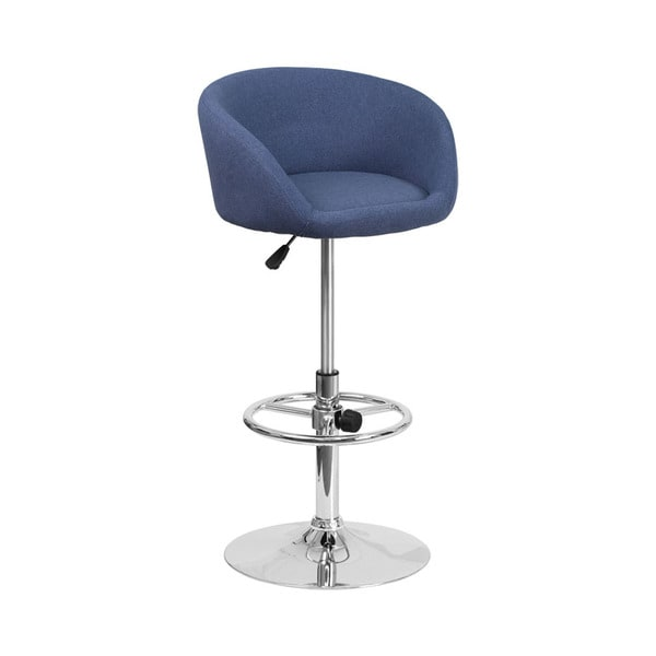 Offex Contemporary Blue Fabric Low-back Design Adjustable Height Barstool with Chrome Base