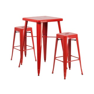 Offex Red Metal Indoor-Outdoor Bar Table Set with 2 Backless Barstools