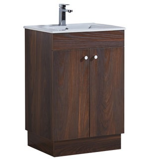 Infurniture Brown Elm Wood Texture Finish with Ceramic Sink 24-inch Bathroom Vanity