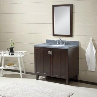 Infurniture Dark Brown Finish with Grey Quartz Top 36-inch Single-sink Bathroom Vanity