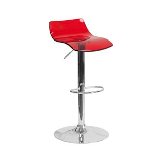 Offex Contemporary Transparent Red Acrylic Adjustable Height Barstool with Chrome Base