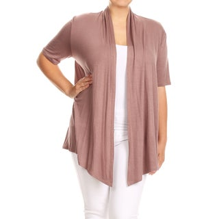 Women's Plus Size Mocha Color Solid Draped Cardigan