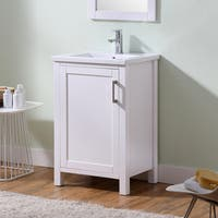 Infurniture White Wood Bathroom Vanity with 24-inch Thick Edge and Ceramic Sink