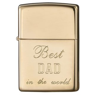 Zippo Dad Engraved High Polish Brass Lighter