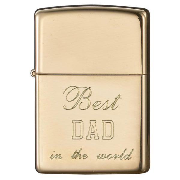 Zippo Dad Engraved High Polish Brass Lighter