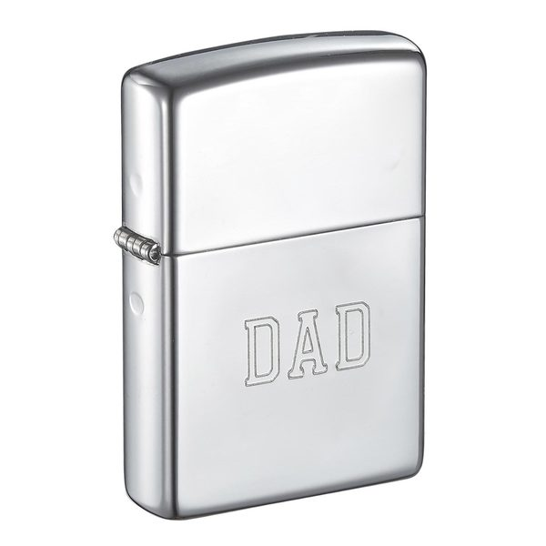 Zippo Dad Engraved High Polish Chrome Finish Lighter