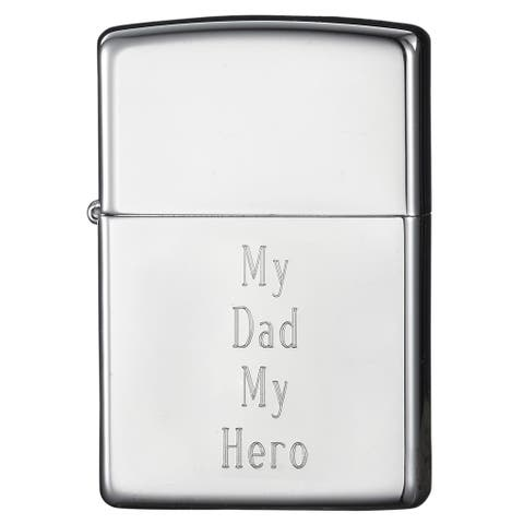 Zippo Dad Engraved High Chrome Finish Lighter