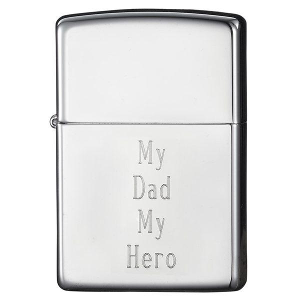 Zippo Dad Engraved High Chrome Finish Lighter