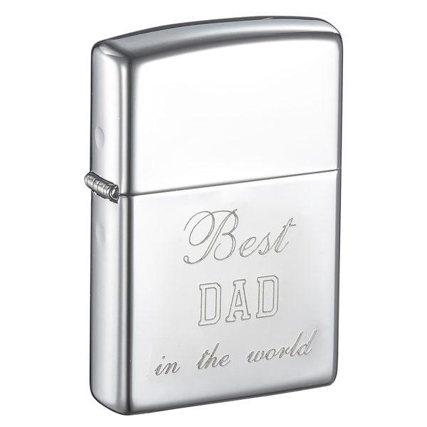 Zippo Dad Engraved Polish Chrome Finish Lighter