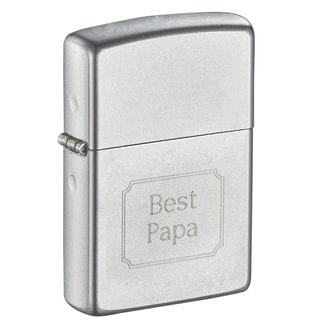 Zippo Dad Engraved Satin Finish Chrome Lighter