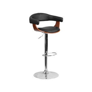 Offex Black and Brown Wood Adjustable-height Bar Stool