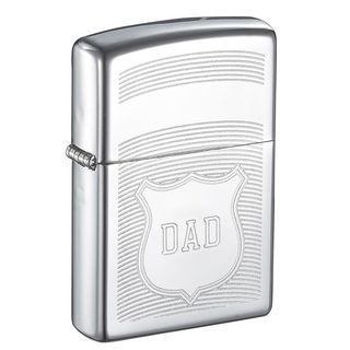 Zippo Dad Engraved Shield Design Lighter