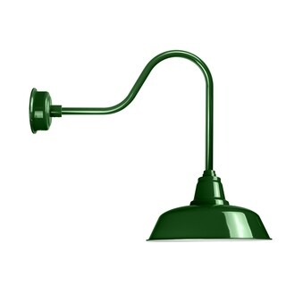"""12"""" Goodyear LED Barn Light with Sleek Arm in Vintage Green"""