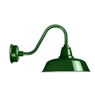 "12"" Goodyear LED Barn Light with Rustic Arm in Vintage Green"