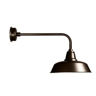 "12"" Goodyear LED Barn Light with Traditional Arm in Mahogany Bronze"