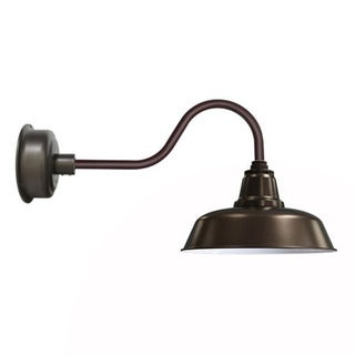 "12"" Goodyear LED Barn Light with Contemporary Arm in Mahogany Bronze"