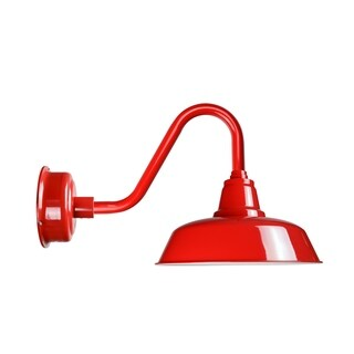 "12"" Goodyear LED Barn Light with Vintage Arm in Cherry Red"
